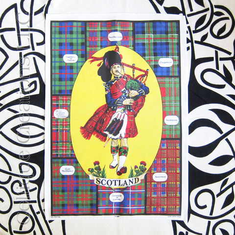 Scotland,Clan,Tartans,with,Piper,Tea,Towel,Piper Tea Towel, Bag Piper Tea Towel, Tartan Tea Towel, Bagpipes, Tartan, Plaid, Scottish Clans, Clan Tartan, Cotton Towel, Kitchen Towel, Celtique Creations