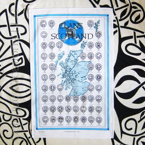 Clans,of,Scotland,Cotton,Tea,Towel,Scottish Clans, Clan Badges, Map of Scottish Clans, Map of Scotland, Tea Towel, Kitchen Towel, Cotton towel, Celtique Creations