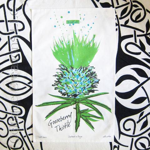 Gooseberry,Scottish,Thistle,Cotton,Tea,Towel, Scottish Thistle, Modern, Contemporary, Sketch, Flower of Scotland, Gooseberry, Tea Towel, Kitchen Towel, Cotton Towel, Celtique Creations