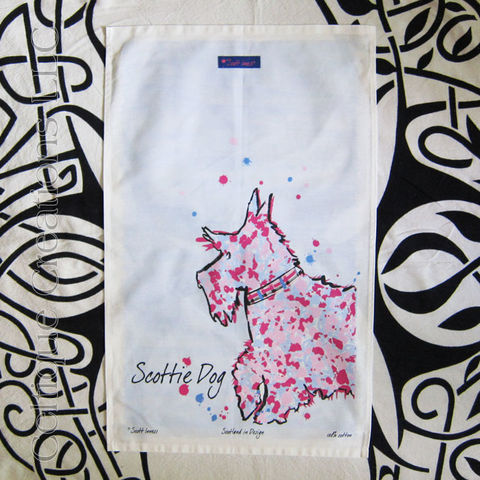 Modern,Scottie,Dog,Cotton,Tea,Towel,Scottie Dog, Scotty Dog, Scottish Terrier, Scottie, Scotty, Dog, Terrier, Tea Towel, Kitchen Towel, Cotton Towel, Modern, Celtique Creations