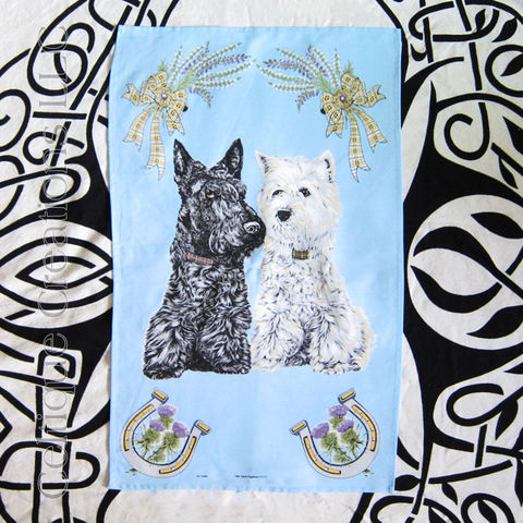 Scottie,and,Westie,Cotton,Tea,Towel, Scotty, Scottish Terrier, Westie, West Highland Terrier, Heather, Thistle, Tea Towel, Kitchen Towel, Cotton Towel, Celtique Creations