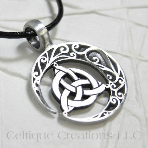 Trinity,Knot,with,Crescent,Moon,Handmade,Necklace,Trinity Knot, Trinity Knot Necklace, Celtic Trinity Necklace, Crescent Moon Necklace, Celtic Moon Necklace, Celtic Jewelry, Handmade Celtic Jewelry, Celtique Creations