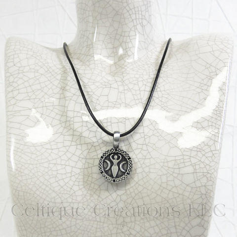 Celtic Triple Moon Goddess Handmade Necklace - product images  of