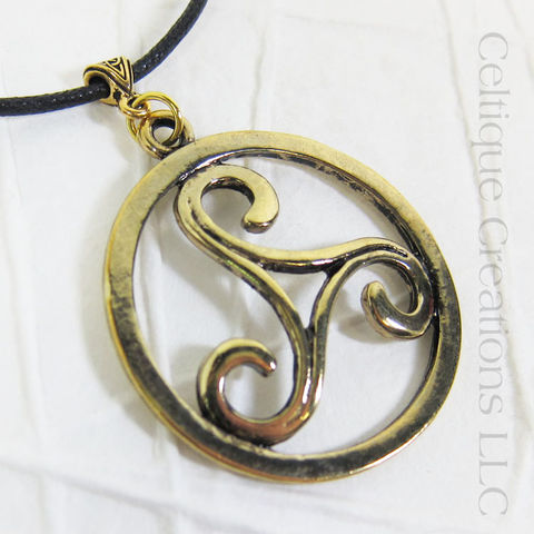 Gold,Triskele,Pewter,Necklace, Triple Spiral, Triskelion, Triskele Necklace, Triple Spiral Necklace, Celtic Jewelry, Celtic Spiral Necklace, Celtique Creations