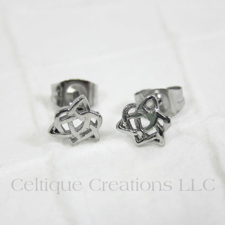 Trinity Knot with Heart Sisters Post Earrings - product images  of