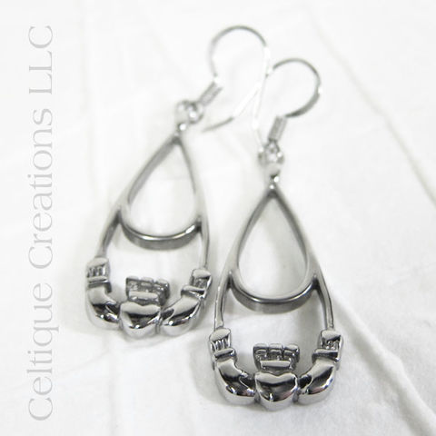 Claddagh Drop Earrings Stainless Steel - product images  of