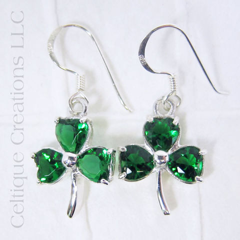Shamrock,Cubic,Zirconia,Stone,Sterling,Silver,Earrings,Shamrock Earrings, Sterling Silver Shamrock Earrings, cubic zirconia Jewelry, Clover Jewelry, Irish Jewelry, Irish Earrings, Drop Earrings, Dangle Earrings, Celtique Creations