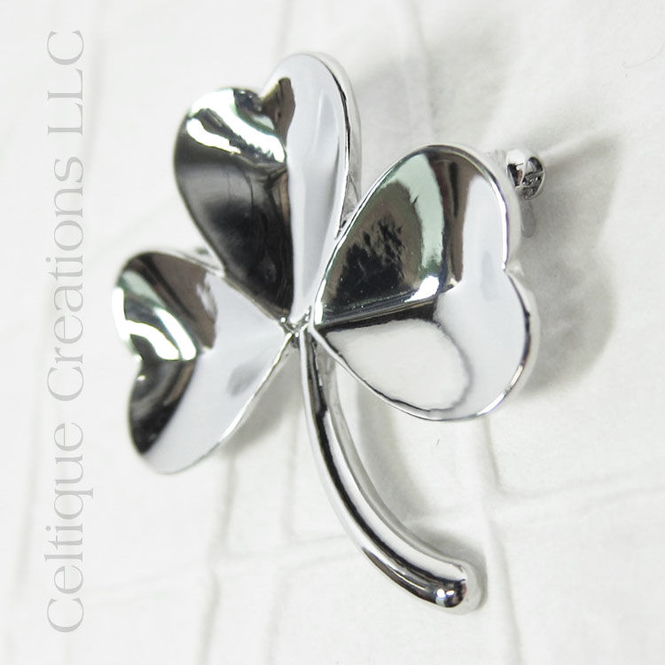 Large Irish Shamrock Brooch Pendant Pewter - product images  of