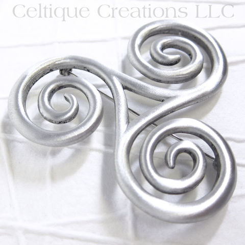 Large,Celtic,Triskele,Brooch,Pin,Pewter, Triskelion, Triple Spiral, Celtic Jewelry, Brooch, Pin, Pewter, Kilt Pin, Triple Goddess, Trinity, Celtique Creations
