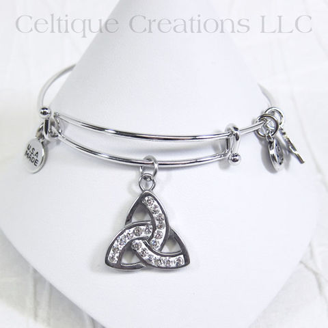 Celtic Trinity Knot Charm Bangle Bracelet - product images  of