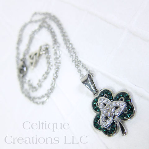 Celebrating,St.,Patrick,Shamrock,Trinity,Knot,Necklace, Trinity Knot, Cubic Zirconia, Celtic, Celtic Knot, Knotwork, St. Patrick, Irish, Jewelry, Necklace, Stainless Steel, Celtique Creations
