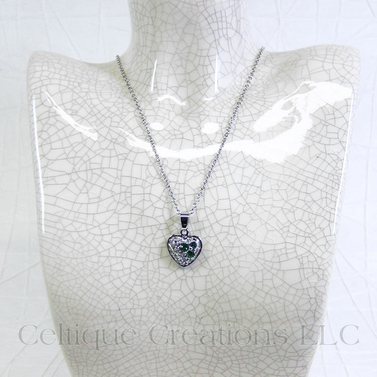 Irish Heart with Shamrock Cubic Zirconia Necklace - product images  of