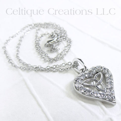 Heart,Celtic,Trinity,Knot,Necklace,with,Cubic,Zirconia,Trinity Knot, Heart, Love, Celtic knot, Jewelry, Necklace, Cubic Zirconia, Gift, Trinity, Pewter, Celtique Creations