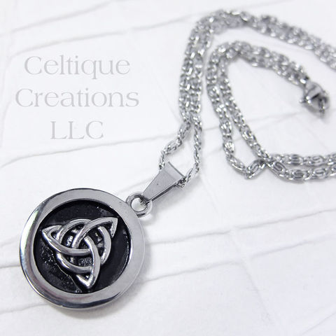 Bold,Trinity,Knot,Necklace,Stainless,Steel,Trinity Knot, Celtic Knot, Celtic, Trinity, Necklace, Jewelry, Stainless Steel, Celtique Creations