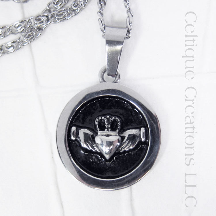 Bold Irish Claddagh Necklace Stainless Steel - product images  of