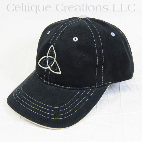 Double,Trinity,Celtic,Knot,Baseball,Cap,Black,Trinity Knot, Celtic Knot, Baseball cap, Baseball Hat, Knotwork, Cap, Hat, Celtic, Cotton, Celtique Creations