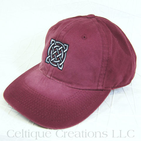 Square,Celtic,Knot,Maroon,Baseball,Hat, Celtic Knot, Celtic Knotwork, Knot, Knotwork, Baseball Hat, Baseball Cap, Cap, Hat, Square, Embroidered, Celtique Creations