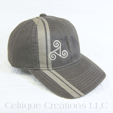 Celtic,Triskele,Brown,Striped,Baseball,Hat, Triple Spiral, Triskelion, Celtic, Sprial, Baseball Hat, Baseball Cap, Cap, Hat, Embroidered, Celtique Creations