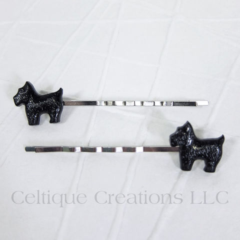 Standing,Scottie,Dog,Handmade,Bobby,Pins,Scottish Terrier, Scottie, Scotty, Dog, Puppy, Bobby Pin, Bobby Pins, Hair Slides, Hair Accessories, Handmade, Celtique Creations