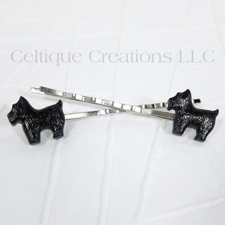 Standing Scottie Dog Handmade Bobby Pins - product images  of