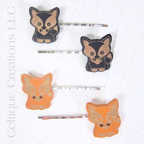 Cute,Wood,Fox,Bobby,Pins,Handmade,Hair,Accessories, Bobby Pin, Hair Slide, Hair Accessories, Hair Accessory, Handmade, Wood, Painted, Woodland, Animal, Celtique Creations