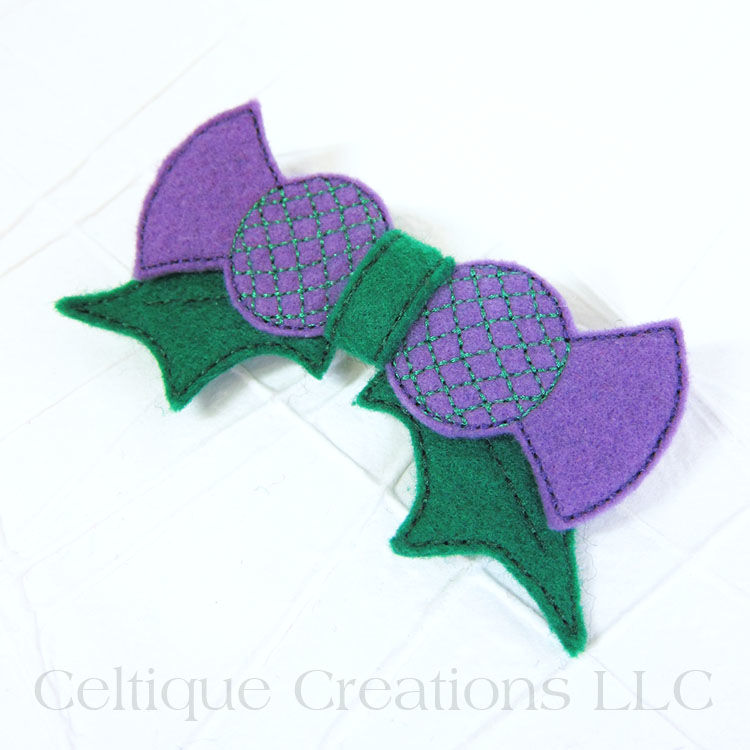 Scottish Thistle Hair Bow Handmade Barrette - product images  of