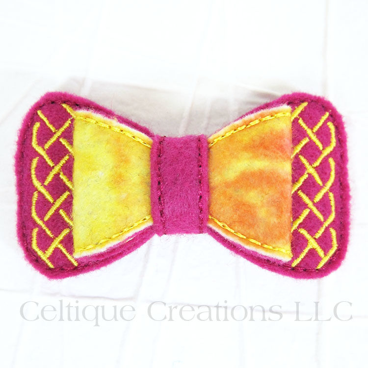 Pink Tie Dye Celtic Bow Handmade Barrette - product images  of