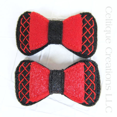 Celtic,Hair,Bow,Handmade,Barrette,Black,and,Red,Celtic Bow, Celtic Hair Bow, Celtic Barrette, Handmade Celtic Bow, Handmade Celtic Barrette, Black and Red, Glitter, Hair Bow, Celtique Creations