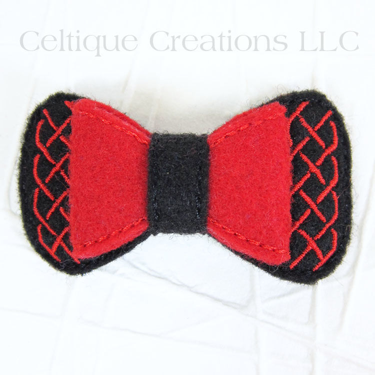 Celtic Hair Bow Handmade Barrette Black and Red - product images  of