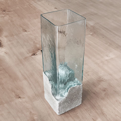 ‹SQUAREMOON›,MOUTH-BLOWN,VASE,vase, handmade, glass, concrete
