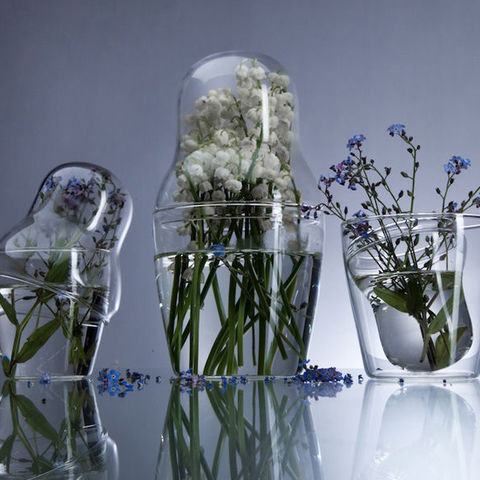 ‹MATROSKA›,READY,MADE,SET,OF,3,PYREX,VASES,russian, dolls, matroska, vase, flower, display, glass, glas, behälter, blumen, dose