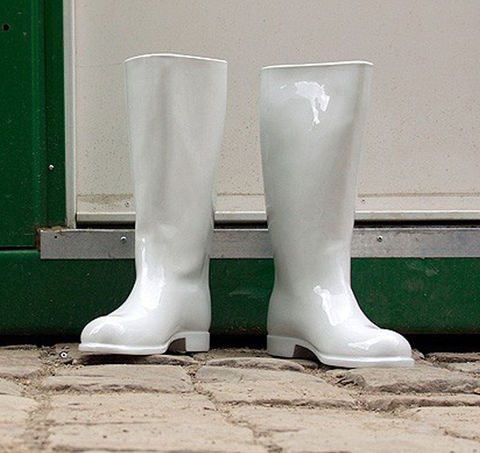 ‹WATERPROOF›,READY,MADE,VASE,waterproof, qubus design studio, ready made, vase, stiefel, welly, gummistiefel