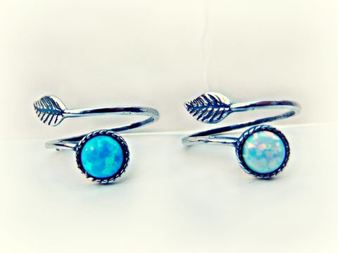 Sterling,Silver,White,or,Blue,Opal,Bohemian,Dainty,Leaf,Wrap,Ring