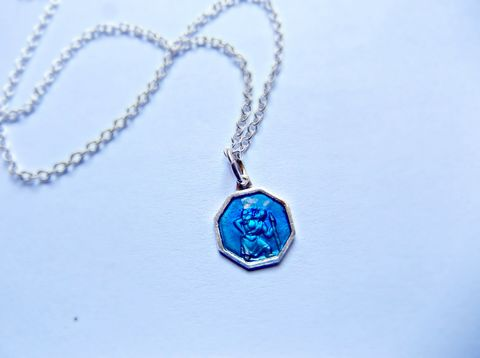 Blue,Enamel,St,Christopher,Sterling,Silver,Travelling,Protection,Necklace