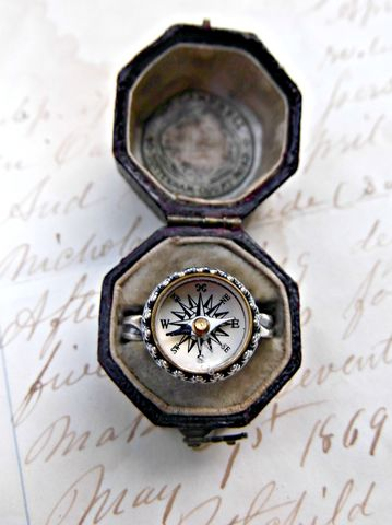 Antique,Wanderlust,Compass,Sterling,Silver,Ring