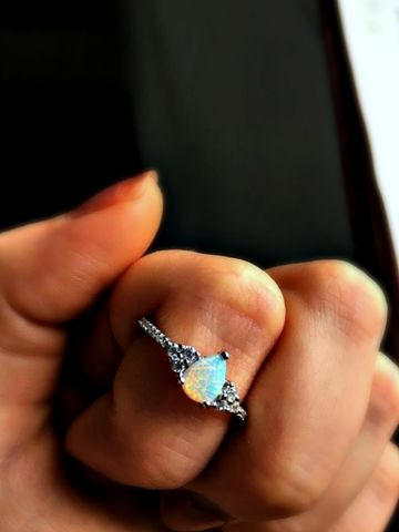 -LUXURY-,Snow,Opal,Vintage,Style,Sterling,Silver,Ring