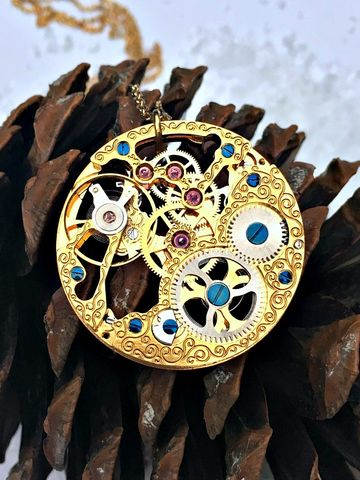 One,of,A,Kind,Vintage,Large,Rotary,Watch,Movement,Necklace