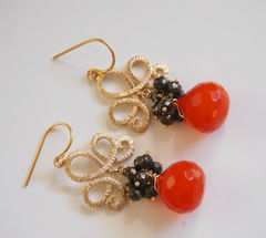 Cluster,Earrings,-,Orange,color,Onion,Briolette-,Pyrite-,Gemstone,Earrings-Dangle,Jewelry,Dangle,gemstone_earrings,orange_earrings,pyrite_earrings,dangle_earrings,orange_quartz,gemstone_jewelry,for_her,feminine_jewelry,handmade_jewelry,handmade_earrings,holiday,cluster,cyber_monday_etsy,man made orange quartz,gold filled wire
