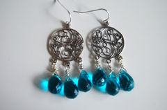 London blue Quartz and sterling silver floral chandelier earrings - product images 2 of 4