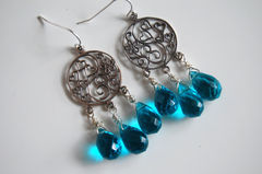 London blue Quartz and sterling silver floral chandelier earrings - product images 3 of 4
