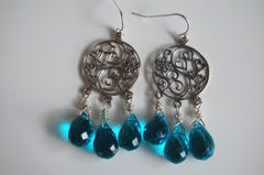 London blue Quartz and sterling silver floral chandelier earrings - product images 4 of 4