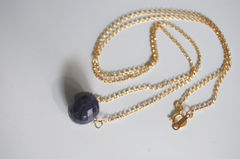 Gorgeous Dark  Blue Sapphire necklace with gold filled chain - product images 3 of 4