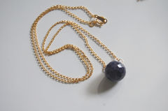 Gorgeous Dark  Blue Sapphire necklace with gold filled chain - product images 4 of 4