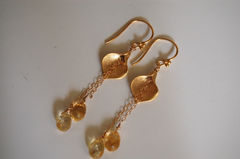 Citrine and Calla lily connector long drop earrings - product images 2 of 4