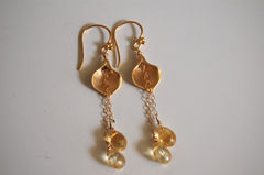 Citrine and Calla lily connector long drop earrings - product images 4 of 4