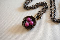 Bird nest necklace with pink turqouise - product images 1 of 4