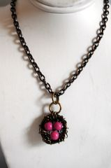 Bird nest necklace with pink turqouise - product images 2 of 4