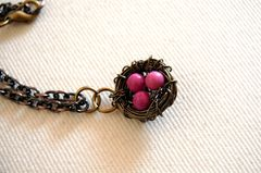Bird nest necklace with pink turqouise - product images 3 of 4