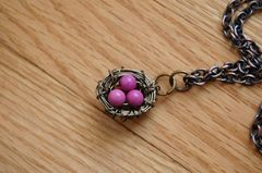 Bird nest necklace with pink turqouise - product images 4 of 4