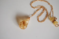 Golden Rutilated Citrine Pendant  Necklace on gold filled Chain - product images 2 of 4